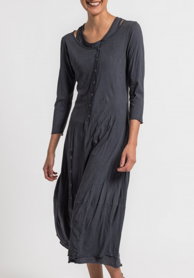 Rundholz Black Label 2-Layer Cotton Button Dress in Atlantic