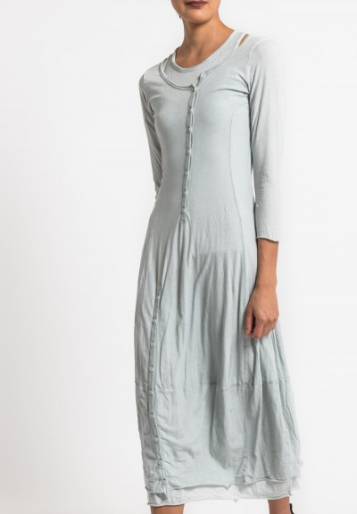 Rundholz Black Label 2-Layer Cotton Button Dress in Sea