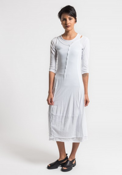 Rundholz Black Label 2-Layer Cotton Button Dress in White