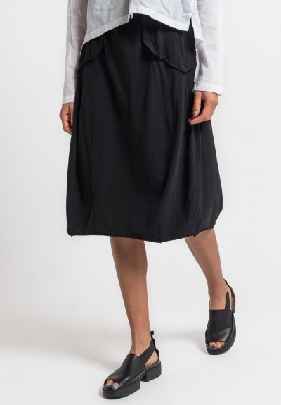 Rundholz Black Label Mock Pocket Tulip Skirt in Black