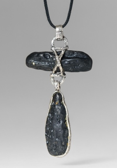 Lou Zeldis Sterling Silver & Lava Rock Necklace