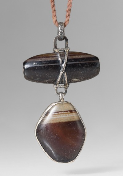 Lou Zeldis Sterling Silver & Brown Agate Necklace