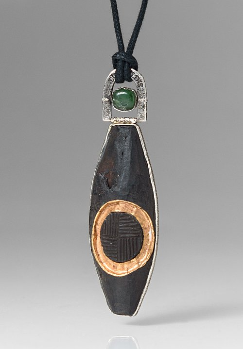 Lou Zeldis Sterling Silver, Black Wood, & Small Jade Gyro Pendant