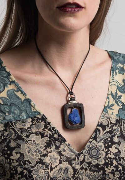 Lou Zeldis Large Lapis & Black Wood Square Gyro Pendant