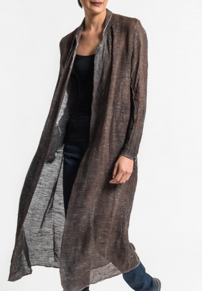 Avant Toi Linen/Cotton Mesh Duster Jacket in Cocoa