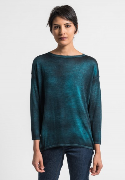 Avant Toi Lightweight Crew Neck Sweater in Turquoise