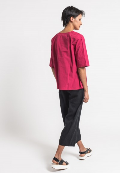 Toogood Cotton Percale Printer Top in Rhubarb