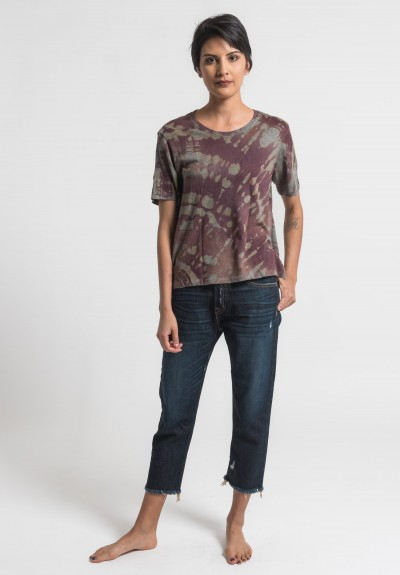 Raquel Allegra Short Sleeve Boxy Tee in Mulberry