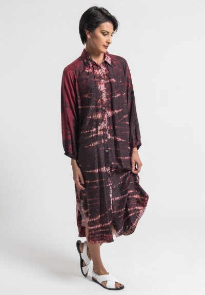 Raquel Allegra Silk Shirt Dress in Oxblood