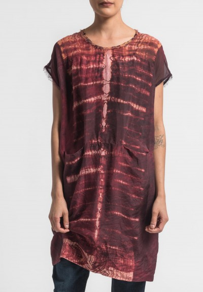 Raquel Allegra Silk Contrast Panel Dress in Oxblood