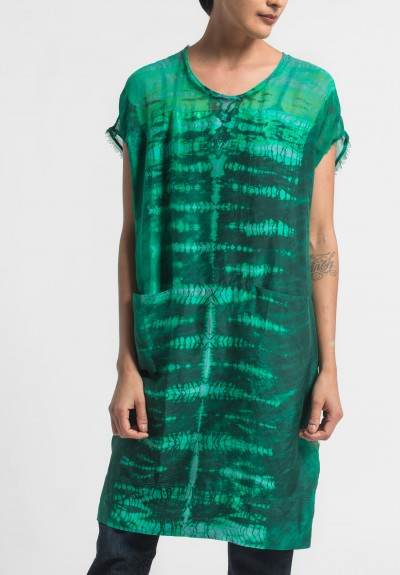 Raquel Allegra Silk Contrast Panel Dress in Emerald