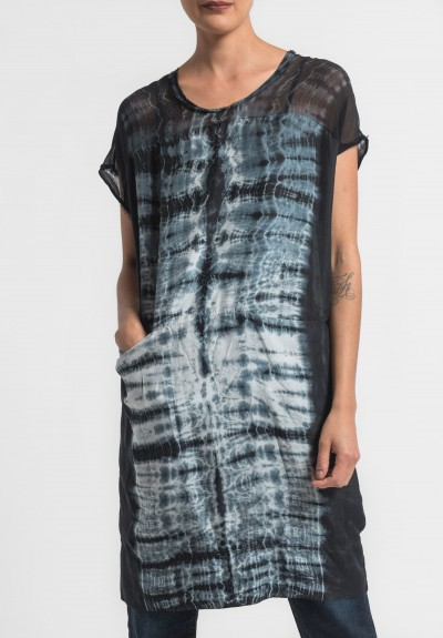 Raquel Allegra Silk Contrast Panel Dress in Black