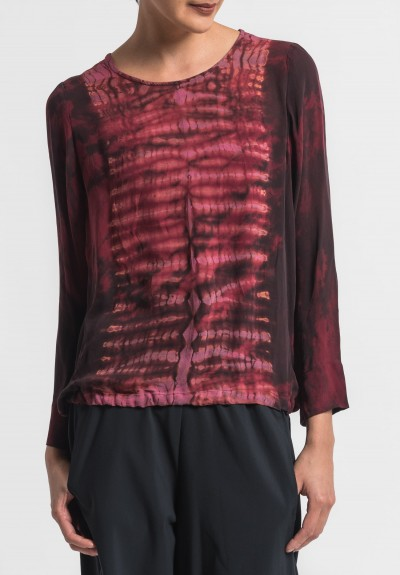 Raquel Allegra Silk Top in Oxblood