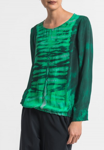 Raquel Allegra Silk Top in Emerald