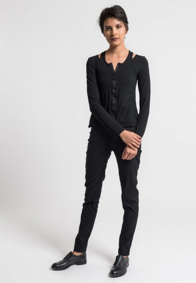 Rundholz Dip Stretch Cotton 2-Layer Cross Back Jacket in Black