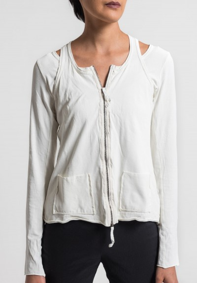 Rundholz Dip Stretch Cotton 2-Layer Cross Back Jacket in Milk