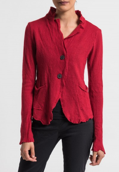 Rundholz Cashmere Notch Collar Cardigan in Tomato