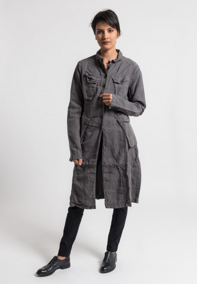 Rundholz Dip Linen Long Utility Jacket in Moon
