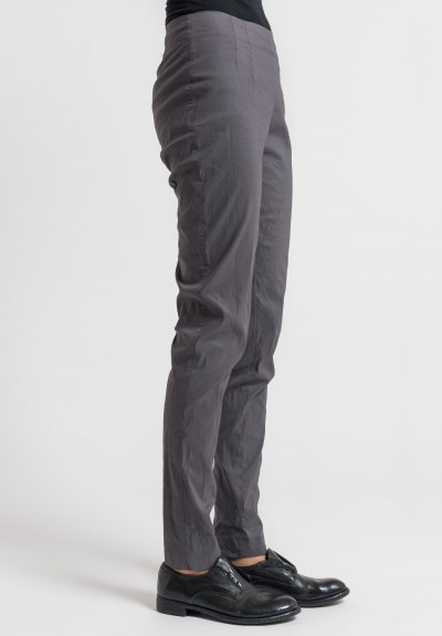 Rundholz Linen/Cotton Stretch Skinny Pants in Moon
