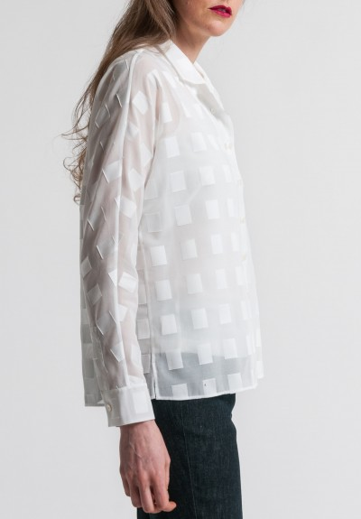 Akris Cotton Voile & Square Applique Blouse in Cremello