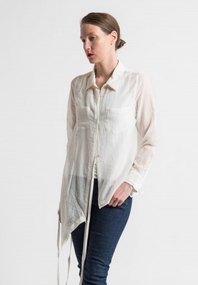 Nicholas K Cotton/Silk Sheer Roux Shirt in Off White