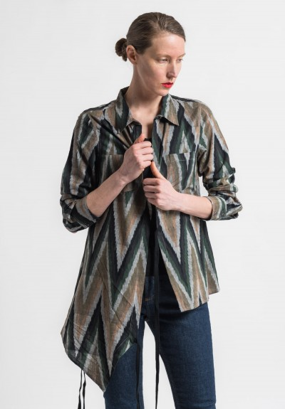 Nicholas K Cotton Chevron Roux Shirt in Multicolor