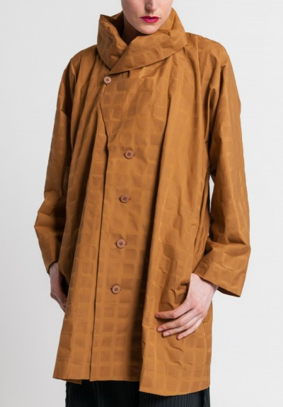 Issey Miyake Long Crumpled Grid Jacket in Copper