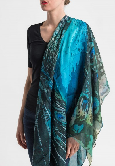 Benny Setti Modal/Cashmere Peacock Print Scarf in Blue
