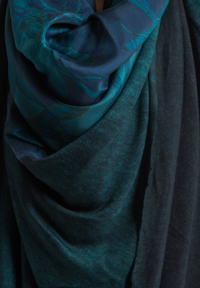 Avant Toi Jumbo Felted Silk Ropes & Bits Print Shawl in Turquoise
