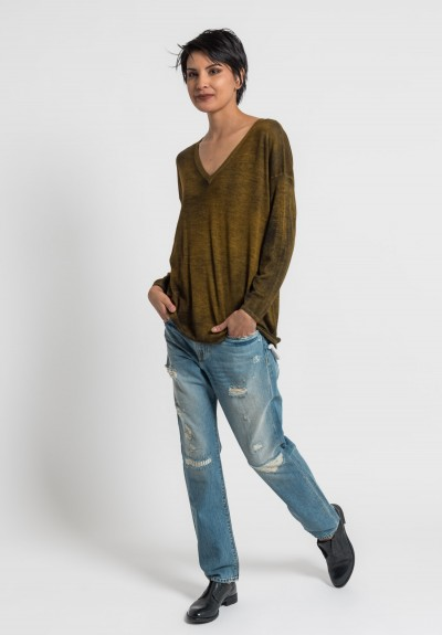 Avant Toi Lightweight V-Neck Sweater in Girasole