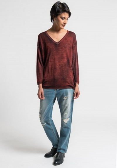 Avant Toi Lightweight V-Neck Sweater in Canyon