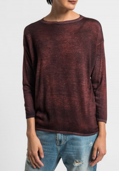 Avant Toi Lightweight Crew Neck Sweater in Canyon