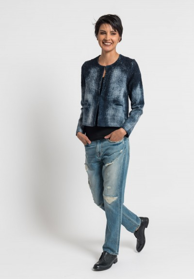 Avant Toi Linen Boucle Collarless Jacket in Blue Navy