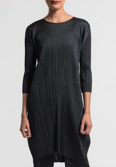 Issey Miyake Pleats Please Crew Neck Pleated Tunic in Black
