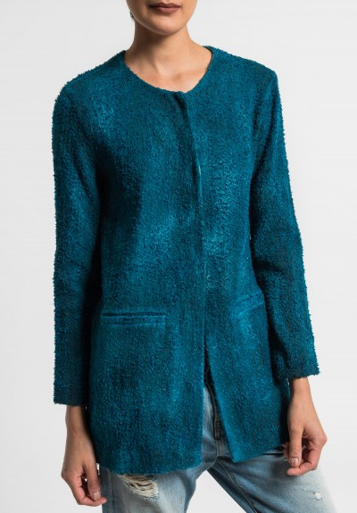 Avant Toi Linen/Cotton Boucle Collarless Jacket in Turquoise