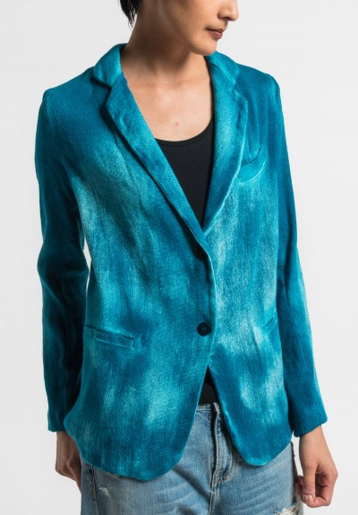 Avant Toi Cotton/Linen Hand Painted Ombre Jacket in Turquoise