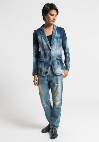 Avant Toi Cotton/Linen Hand Painted Ombre Jacket in Blue Navy
