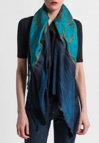 Avant Toi Felted Silk Saddle & Stirrups Print Scarf in Cuba