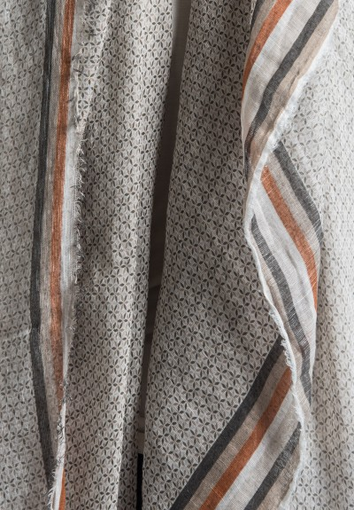 Som Les Dues Modal/Linen Classic Printed Scarf in Cream