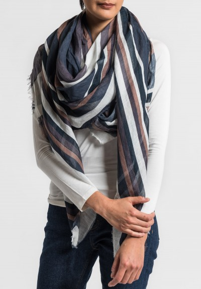 Som Les Dues Modal/Linen Coffee with Cinnamon Printed Scarf in Brown