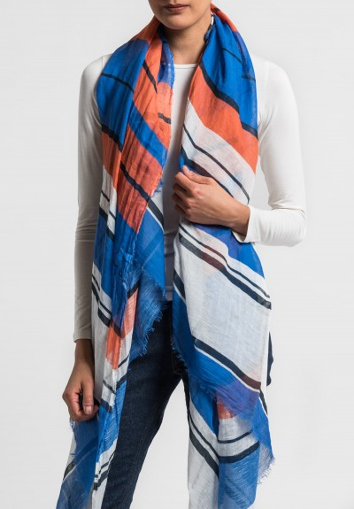 Som Les Dues Modal/Linen Printed Scarf in Orange/Blue