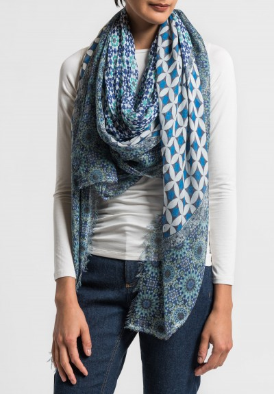 Som Les Dues Modal/Cashmere Forms Printed Scarf in Blue