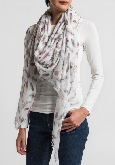 Som Les Dues Modal/Cashmere Flying Green Printed Scarf in Cream