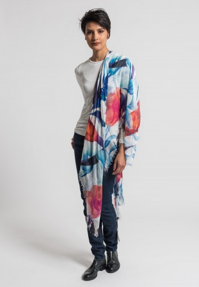 Som Les Dues Modal/Cashmere Corcega Printed Scarf in White