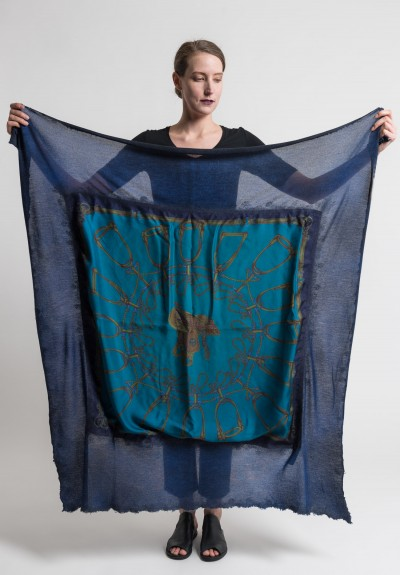 Avant Toi Felted Silk Saddle & Stirrups Print Scarf in China