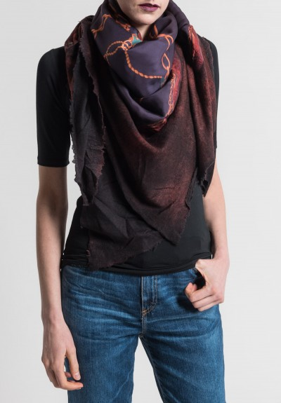 Avant Toi Felted Silk Saddle Print Scarf in Canyon
