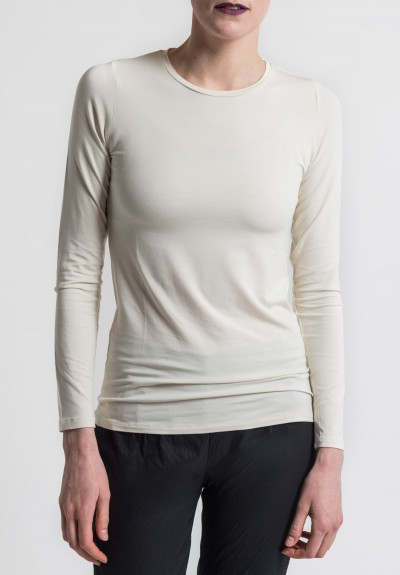 Majestic Crew Neck Long Sleeve Tee in Cream