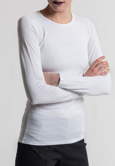 Majestic Crew Neck Long Sleeve Tee in Blanc