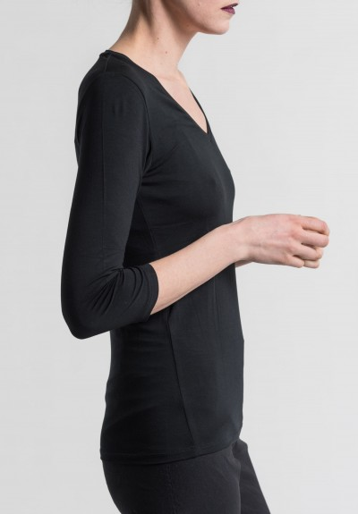 Majestic V-Neck 3/4 Sleeve Top in Noir