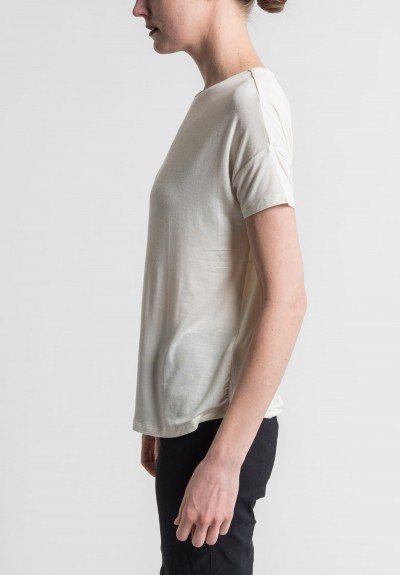 Majestic Extra-Fine Oversized Boat Neck Tee in Cream